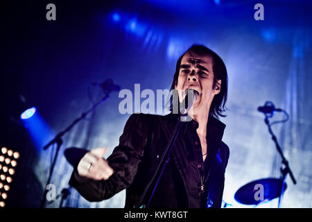 The alternative rock band Grinderman is here pictured with lead singer Nick Cave live on stage at a gig at Falconer - Stock Photo