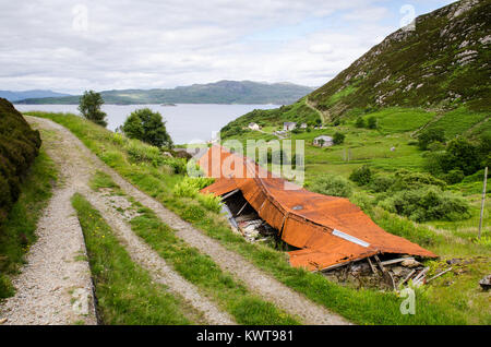 A collapsed barn at Mallaig in the West Highlands of Scotland. - Stock Photo