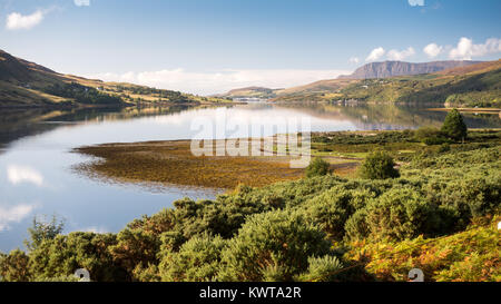 The mountains of Coigach and Rosshire rise from the shores of Loch Broom, an inlet of the Atlantic at Ullapool in - Stock Photo