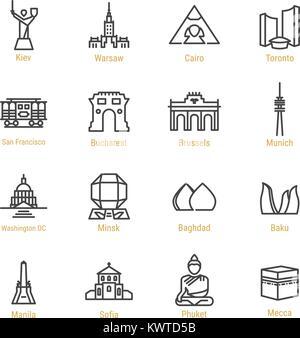 World Landmarks - Vector Line Icon Set - Part III - Stock Photo