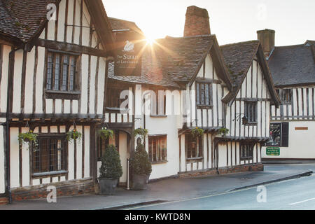 Exterior of the Swan Hotel and Restaurant in Lavenham, Suffolk, England - Stock Photo