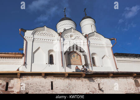 Kirillov, Vologda region, Russia - August 9, 2015: Restoration work on the Gate Church of Transfiguration of Our - Stock Photo