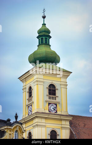 Bell tower of the Holy Trinity church in Piata Mare, Sibiu, Romania - Stock Photo