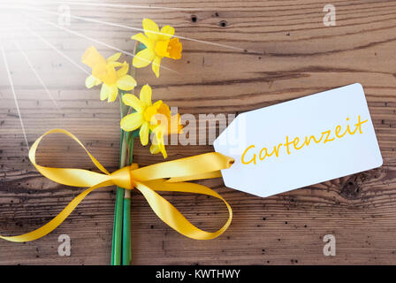 Label With English Text Gartenzeit Means Garden Time. Sunny Yellow Spring Narcissus Or Daffodil With Ribbon. Aged, - Stock Photo