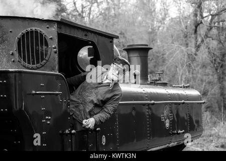 Black & white, landscape shot of moving steam train on railway line. Stood on footplate, train driver leans out - Stock Photo