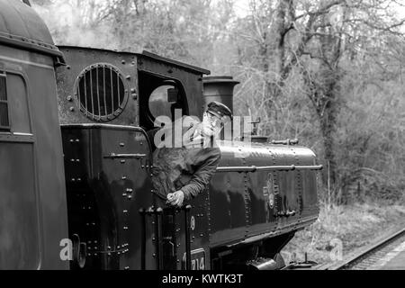 Black and white close up, vintage 1940s UK steam train, crew engine driver leaning out locomotive cab, in action - Stock Photo