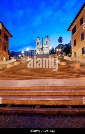 Spanish Steps at night, Piazza di Spagna, Rome, Lazio, Italy - Stock Photo