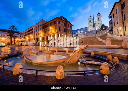 Fontana della Barcaccia and Spanish Steps at night, Piazza di Spagna, Rome, Lazio, Italy - Stock Photo