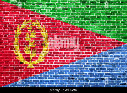 Flag of Eritrea painted on brick wall, background texture - Stock Photo