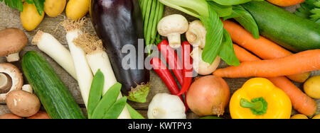 group of fresh vegetable fruits as healthy food - Stock Photo