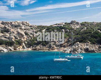 boats at Capo Testa, Sardinia - Stock Photo