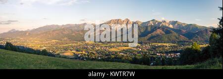 Inspiring Mountains Landscape Panorama, beautiful day in summer Tatras, mountain ridge over blue sky in Zakopane, - Stock Photo