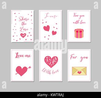 Decorative greeting cards for Valentine's Day.Typography set.The main symbols of the holiday. Vector logo, emblems, - Stock Photo