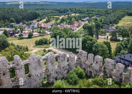 Aerial view from the tower of Gothic castle in Rabsztyn village, part of the Eagles Nests castle system in Lesser - Stock Photo
