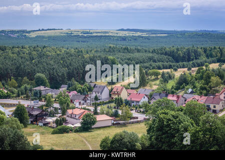 Houses in Rabsztyn village seen from tower of Gothic castle in Lesser Poland Voivodeship of Poland - Stock Photo