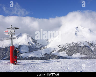 Top of the Mont Chery skilift in the ski resort of Les Gets, France - Stock Photo