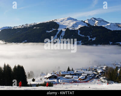 Winter scenes in the ski and snowboarding resort of Les Gets, France - Stock Photo