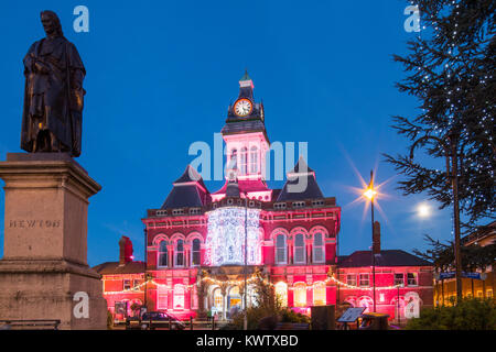Guildhall Arts Centre decorated for Christmas, Grantham, Lincolnshire, England, UK - Stock Photo