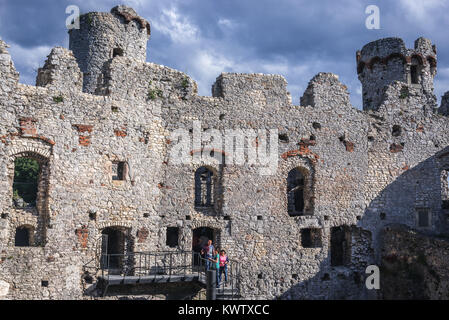 Ruins of Ogrodzieniec Castle in Podzamcze village, part of the Eagles Nests castle system in Silesian Voivodeship - Stock Photo