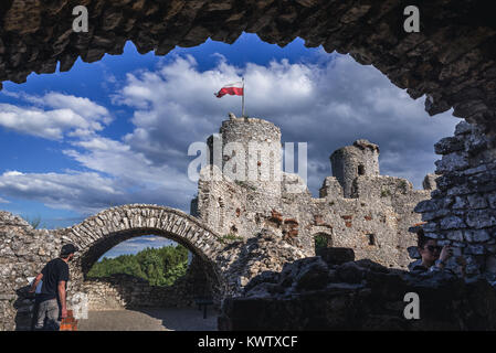 Inside the Ogrodzieniec Castle in Podzamcze village, part of the Eagles Nests castle system in Silesian Voivodeship - Stock Photo