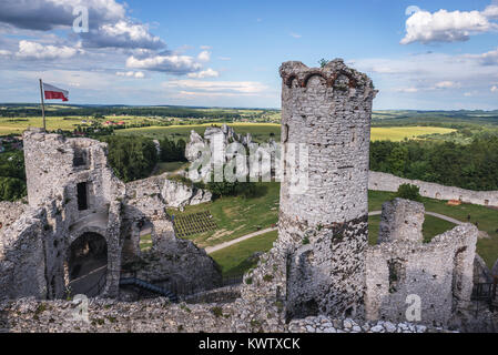 View from tower of Ogrodzieniec Castle in Podzamcze village, part of the Eagles Nests castle system in Silesian - Stock Photo