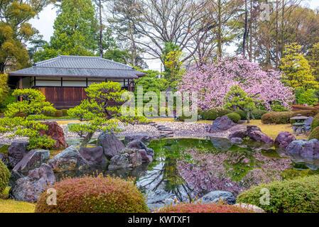 Ninomaru Garden in Nijo Castle in Kyoto, Japan - Stock Photo
