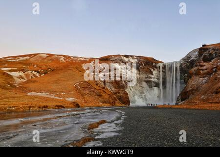 Skogafoss Waterfall, South Iceland, Iceland, Europe - Stock Photo
