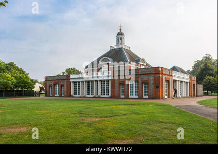 Serpentine Gallery, Kensington Gardens, London; housed in a former British classical style architecture tea pavilion - Stock Photo