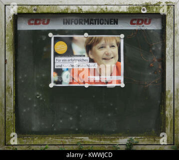Angela Merkel, the Chancellor of Germany and the leader of the Christian Democratic Union (CDU), depicted in the - Stock Photo