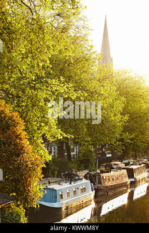 Canal boats at Little Venice, Maida Vale, London, England - Stock Photo