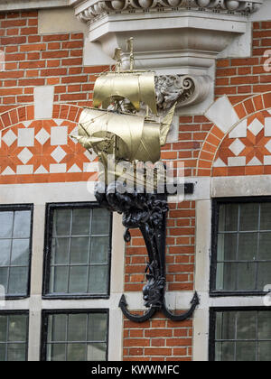 LONDON, UK:  Decorative detail on 20 Buckingham Gate now the High Commission of Swaziland - Stock Photo