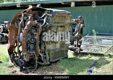 Automobile at junk yard. Old car metal in junk yard. Car junkyard. Wrecked car junk yard in Australia - Stock Photo
