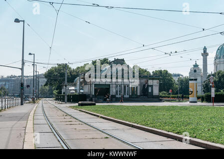 Vienna, Austria - August 17, 2017: Subway entrance and Art Nouveau pavilion at the Karlsplatz in Vienna. Designed - Stock Photo