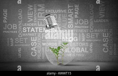 Lightbulb with green plant inside placed against business related terms on grey wall on background. 3D rendering. - Stock Photo