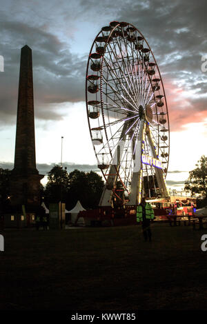 XX Commonwealth Games' Festival 2014 venue at Glasgow Green, Glasgow, Scotland, 26th July, 2014, with Nelson's Monument - Stock Photo