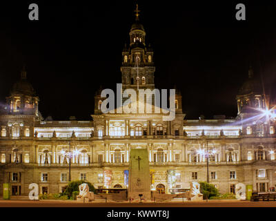City Chambers at night, George Square, Glasgow, Scotland - Stock Photo
