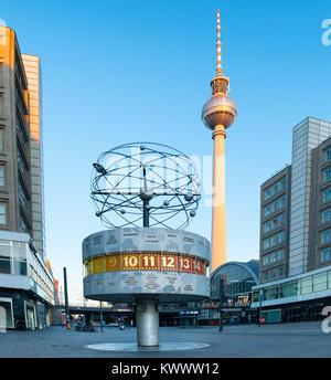 BERLIN - JUNE 23: Berlin's Alexanderplatz, Weltzeituhr (World Time Clock), and TV Tower on February 17, 2016 in - Stock Photo