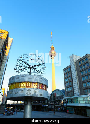 BERLIN - JUNE 23: Berlin's Alexanderplatz, Weltzeituhr (World Time Clock), and TV Tower on February 17, 2016 in - Stock Photo