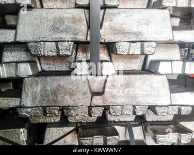 Aluminum ingots. Transportation of aluminum for export. - Stock Photo