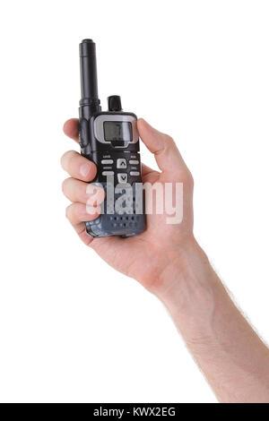 Portable UHF radio transceiver isolated on white background - Stock Photo