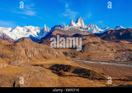 Fitz Roy mountain aerial view. Fitz Roy is a mountain located near El Chalten village in the Southern Patagonia - Stock Photo