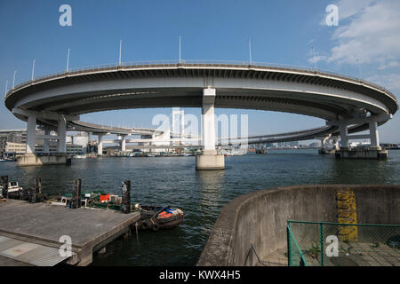 Japan, Tokyo, Honshu Island: the Rainbow Bridge in the district of Minato - Stock Photo