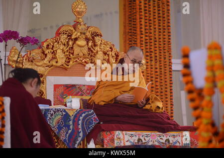 Bodh gaya, India 05 January 2018 - The Holiness 14th Dalai Lama is addressing a   gathering during the special teaching - Stock Photo