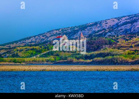 Seafront view ta Pag island coastline in Croatia, european summer tourist resorts. - Stock Photo