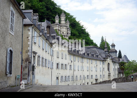LESTELLE-BETHARRAM, FRANCE - CIRCA JULY 2015 Monastery and chapel on the hill - Stock Photo