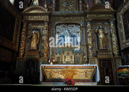 LESTELLE-BETHARRAM, FRANCE - CIRCA JULY 2015 Altar in the church - Stock Photo