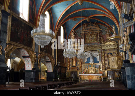 LESTELLE-BETHARRAM, FRANCE - CIRCA JULY 2015 Inside church - Stock Photo