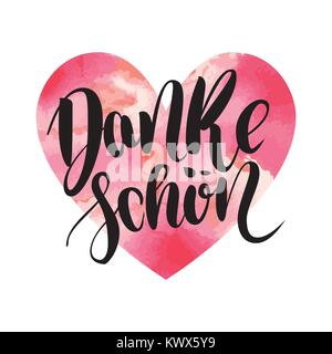 Danke schoen. Thank you in german. Vector hand drawn brush lettering on colorful watercolor heart isolated on white - Stock Photo