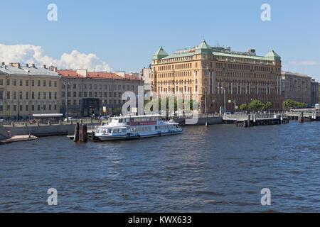 St. Petersburg, Russia - June 17, 2017: Makarova Embankment and the Courtyard by Marriott Hotel in St. Petersburg - Stock Photo