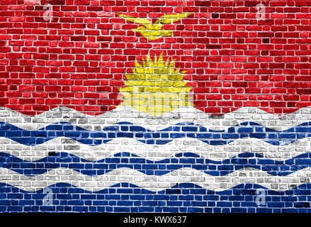 Flag of Kiribati painted on brick wall, background texture - Stock Photo